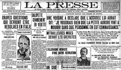 Une du quotidien québécois: La Presse 15/04/1920